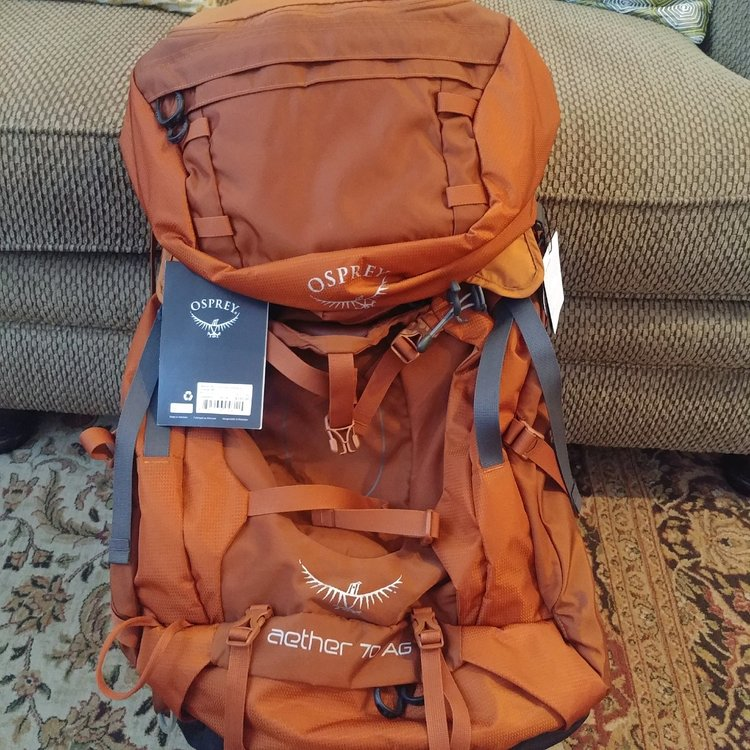 Orange Osprey Aether AG 70 Size M New With Tags