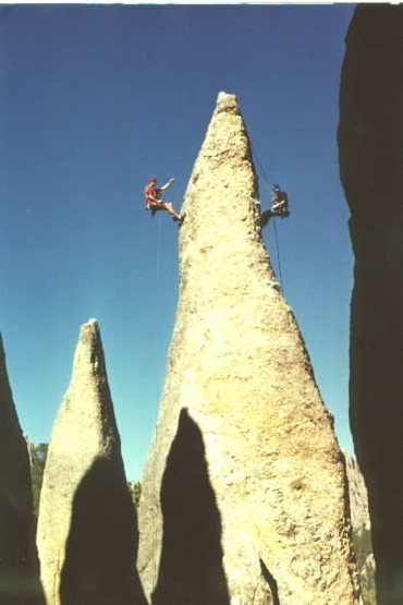 The Famous Needles Rappel.<br> Chad Berger and John Wachter on the rope. Photo by the ChossMonkey