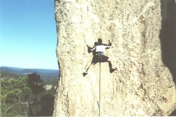 The Choss Monkey on Baba Cool. Belayed by John Wachter, Photo by Chad Berger