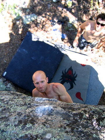 """Blake staring down the first sloper on """"I Know <br> Tecate.""""  Mike Cronin spotting...kind of."""