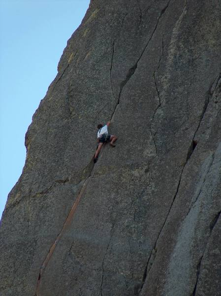 Matt is in to the good hands by now.  The orange colored section below him is the thin crux of the route.