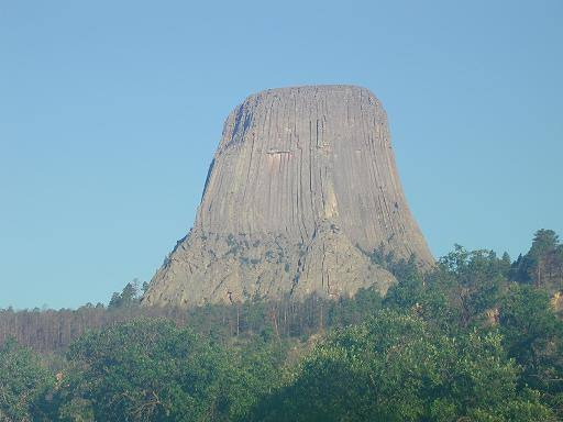 Early morning shot of the SE face of Devils Tower: taken Aug 2001