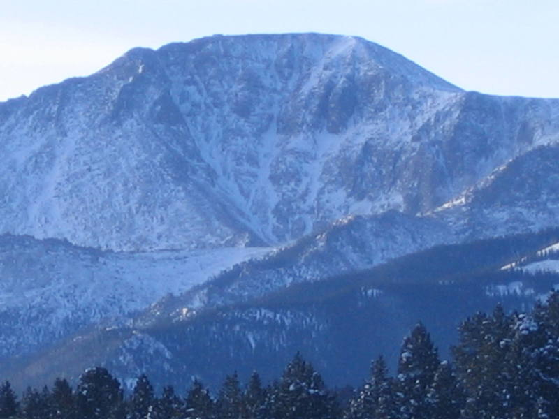 North face of Pike's Peak, taken from US Hwy 24 just west of Woodland Park.