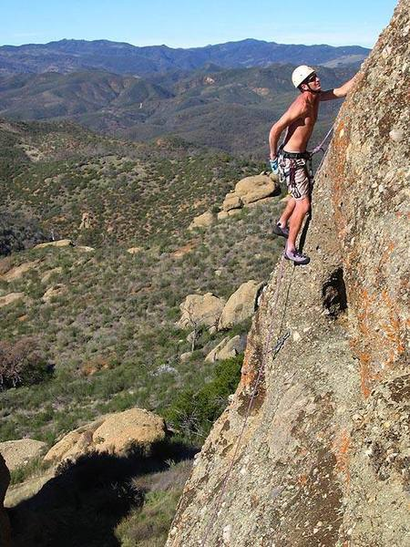 Larry Harris on the main face of Big Rocks.