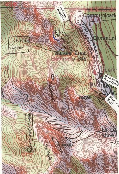 Overview map of Chimney and Upper LaCueva Canyons