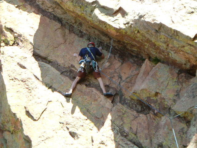 Unknown Climber - April 2005. Watched him climb from Lumpe; his style of climb protected his second very well. If anyone wants, I'll put a name to the face (rather the back of the head). Looked like a good guy to climb with.