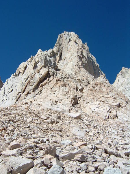 Good photo of the East Face and East Buttress routes on Mt. Whitney.