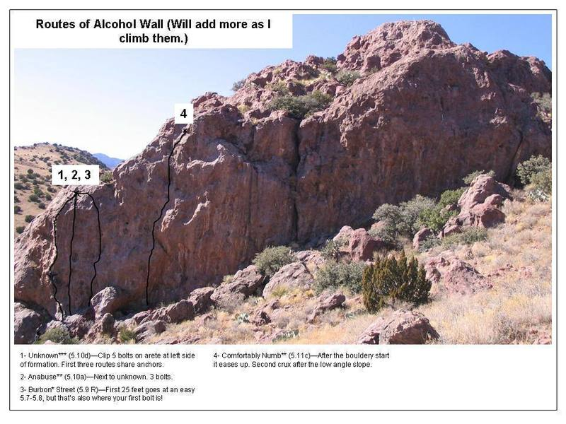 Photo overview of routes on Alcohol wall. Will add more as I climb them or receive beta from others!