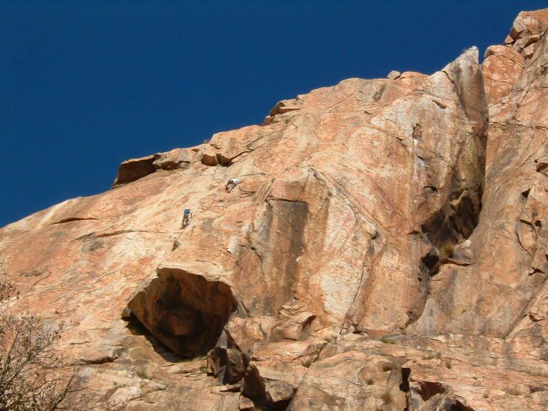 ECM Left Wall, climbers on Leonids (5.9)