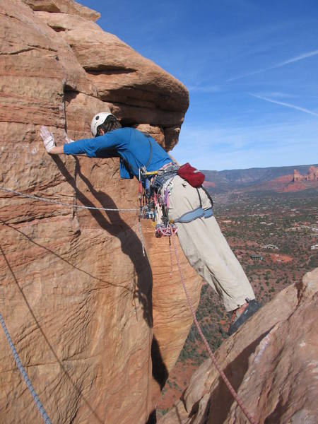 The awsome step across move on last pitch of Regular Route.  This makes the route unforgettable!