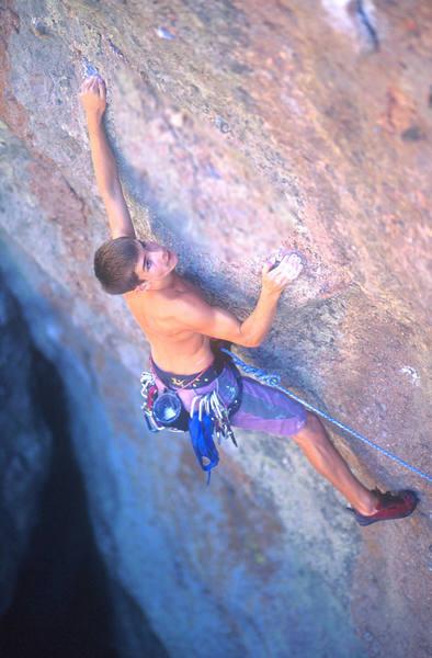 Chris Sharma (when he was 13) climbing Ranger Bolts.