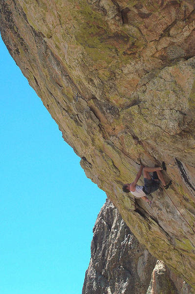 Climber in the middle of the route.