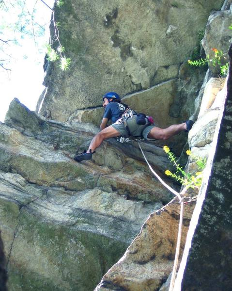 Mike Amato leading the last pitch of Wrist, a typical Gunks 5.6 roof.