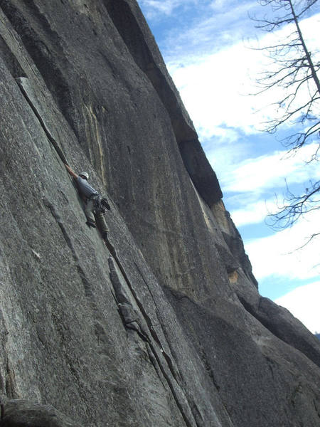 Mike Dahlquist rides the first pitch of Pony Express (5.8)
