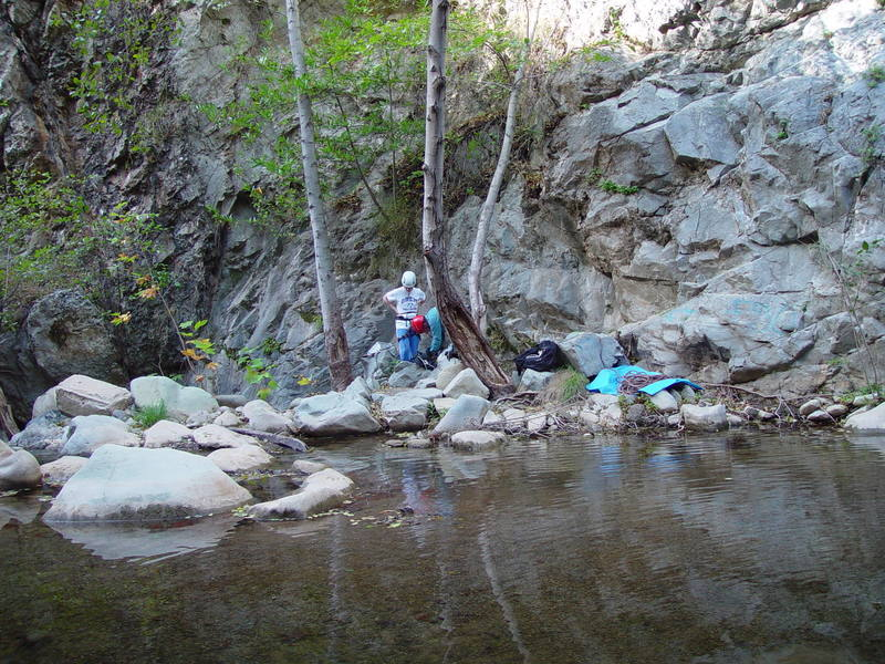 <em>South of the Trout Farm</em> on the day after Thanksgiving, 2005. The route is above the rope. The first clip is just outside the top of the frame. Photo by Ashley Blanchard.