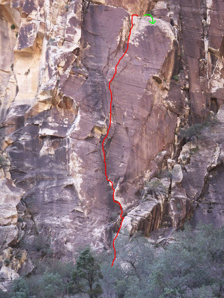 Greased Lightning climbs incipient cracks to a nice grassy ledge.  Rappel with 2 ropes.