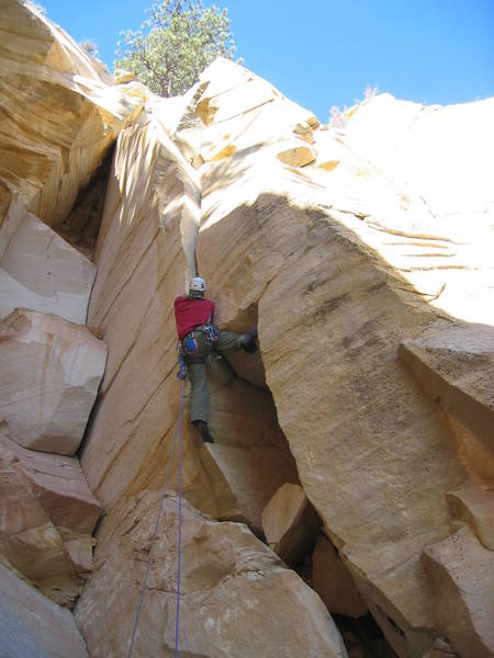 Final pitch -- a 5.10 fist crack.  October 2005.