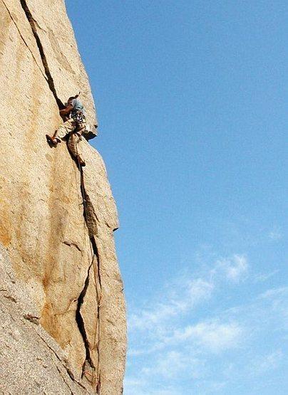 Brad Singer midway up Agony Arch (5.11b), Riverside Quarry
