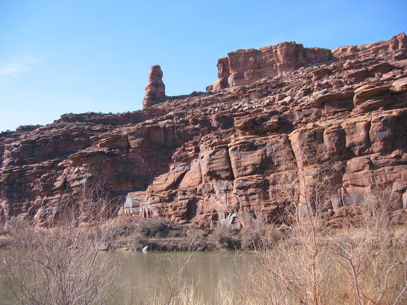 Barney Rumble Tower with the Colorado River in the foreground.