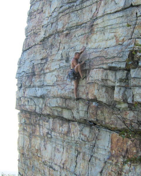 Climber on Doubleissima, a 5.10 Gunks classic.