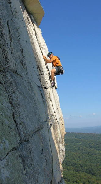 The 5.7+ third pitch of Cascading Crystal Kaleidoscope (CCK), an airy and exposed Gunks classic.<br> <br> Photo by [[11870]].