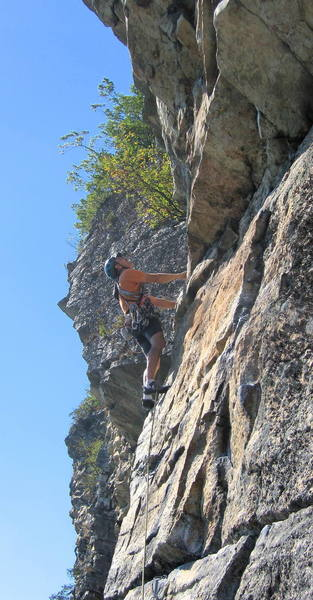 At the 5.7 crux on the last pitch of Yellow Ridge.  Yes, there's an easy line past the overhangs!<br> <br> Photo by [[11870]].