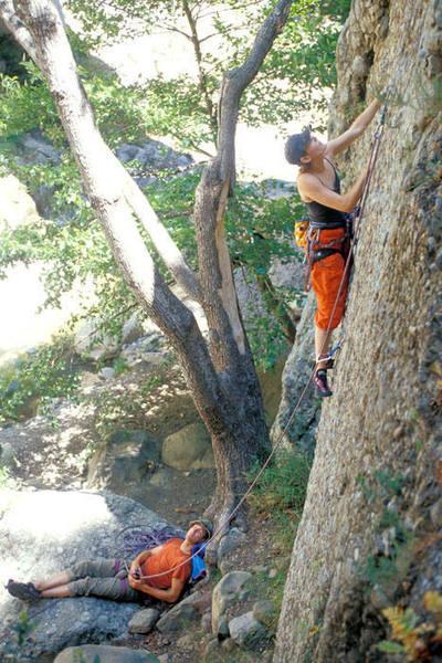 Rachel Main and Laine MacTague, of Santa Paula, enjoy an idyllic day at Wheeler Gorge.  Ezra (5.9)