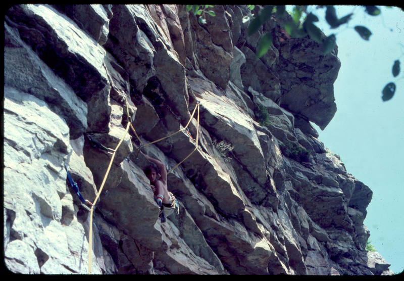 My brother Paul at the rest before the crux. We're climbing on a 300' piece of 9mm rope, folded in half, that he got off a spool somewhere. What a deal.