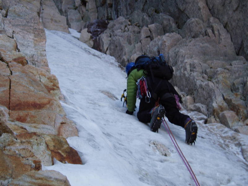 Phil Sabet experiencing pristine ice conditions in the Notch Couloir on September 12th, 2005.