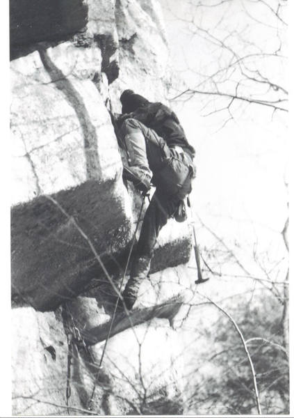 I'm pretty sure this was my high point. See next photo where I'm belaying as Rich Perch is falling.