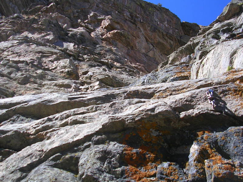 This is looking at the upper part of the route from a belay station.
