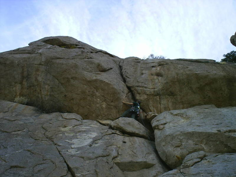 Mike Edmonds at the crux of the third pitch.