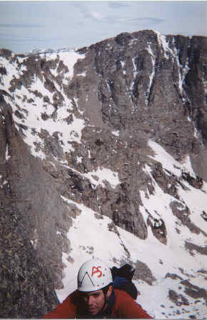 Looking north from the top of Sharkstooth in RMNP.<br> <br> Andrew Speers topping out the last pitch.