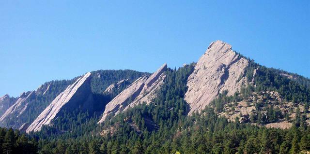 Flatirons behind Boulder.