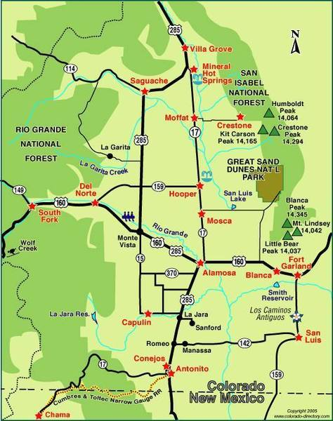 Map of the San Luis Valley. Map Of Luis on map of rumbek, map of wu, map of siu, map of chicago,