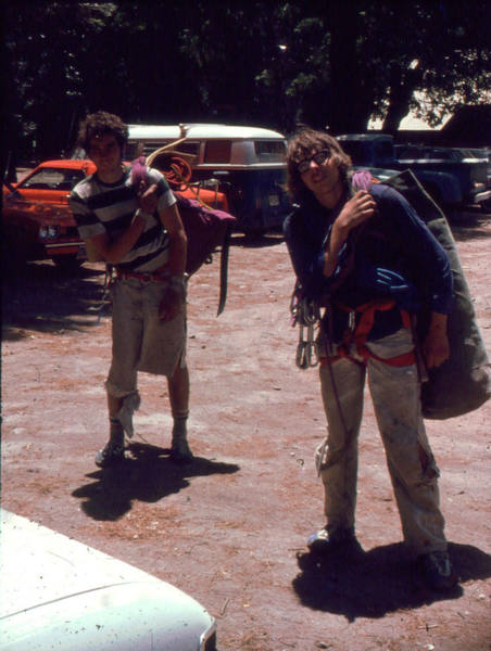 1975. Rich Perch on the right and Don Hamilton after an apparently tough ascent of The Nose. Rich is now a district ranger in Rock Mountain National Park after many years rangering in the Tetons, Moab and elsewhere.
