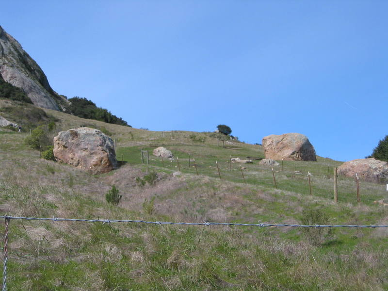 The Chlorissa (R) and Pete (L) boulders.  Shadow Wall is the slab in the distance.