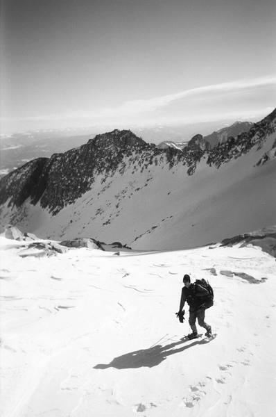 Matt reaching the col below K2 after sunrise