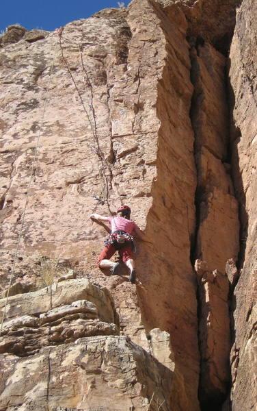 Christa Cline starting the steep upper headwall.