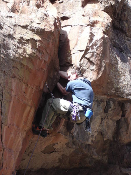 Tony pulling the hand crack to the top of Buck Tooth.