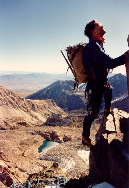 Chris Owen at a steep bit. (c) Marc Chrysanthou 1986