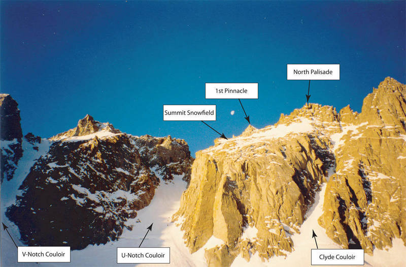 Note three climbers in the U-Notch Couloir.
