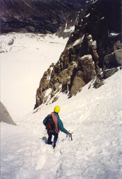 Descending the couloir in early season with good snow.