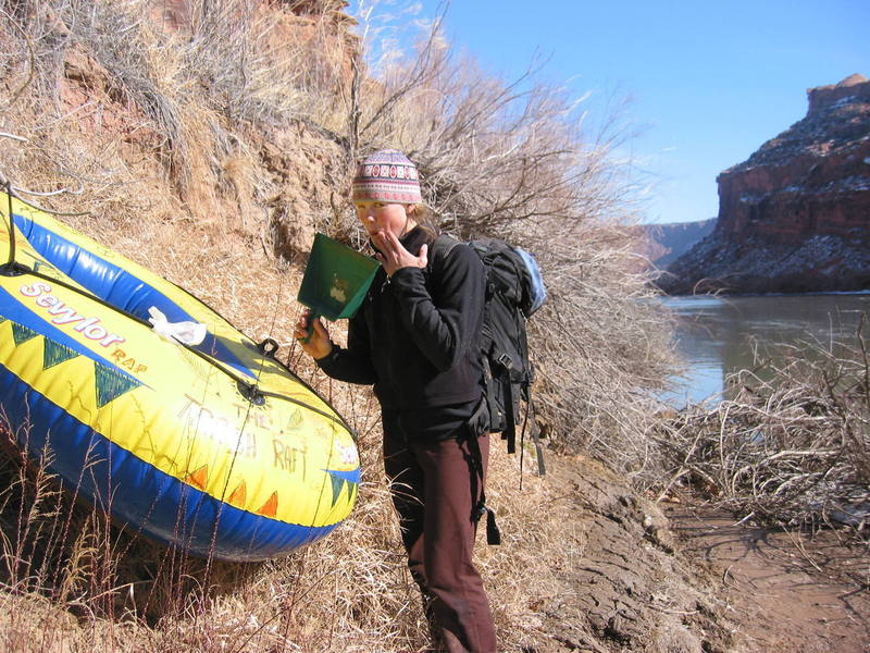 """The late Erica Kutcher stashing the """"Trash Raft"""" on our approach to Barney Rumble Tower."""