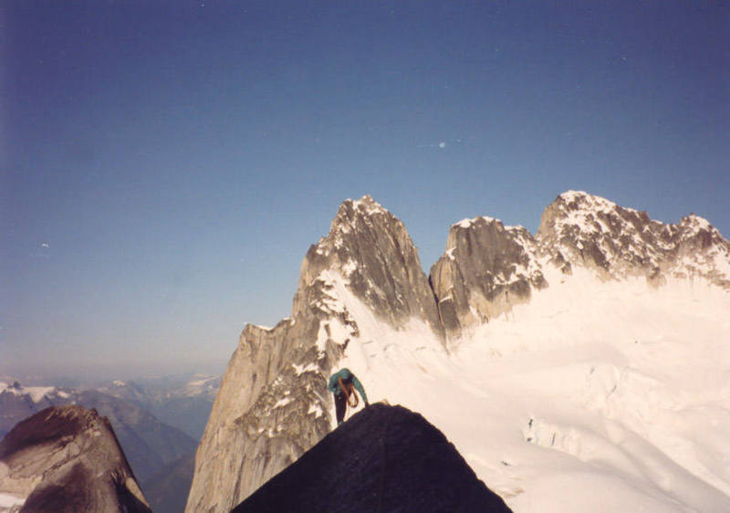 Fred on the best 5.4 on the planet - West Ridge of Pigeon Spire.