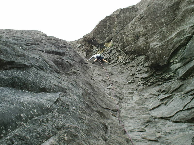 Casey Vavrino climbing. He took a good fall leading this climb, which is much harder than it looks.