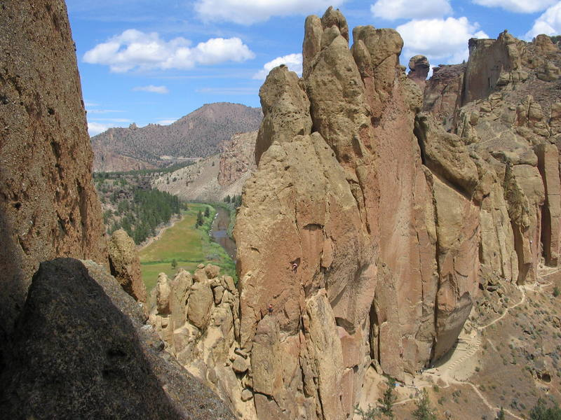 East side of Christian Brothers as seen from top of White Satin route on the Smith Rock Group (July 2005).