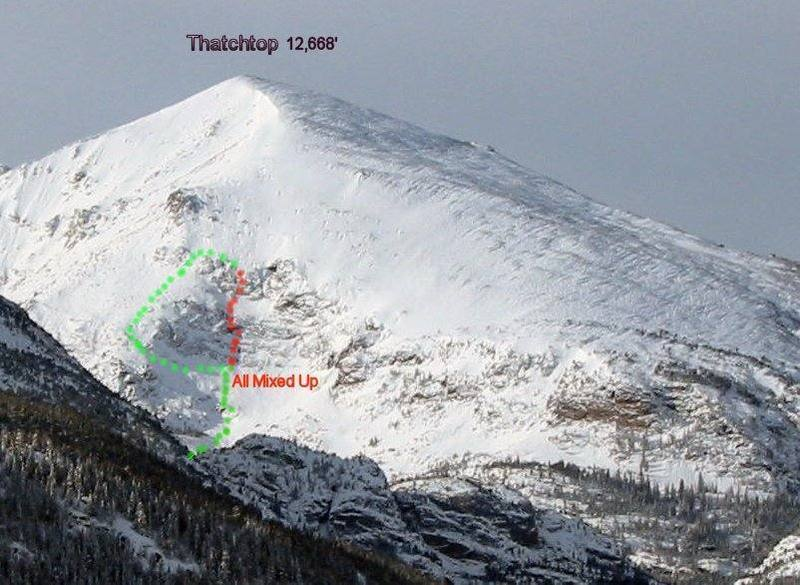 Normal descent is shown in green.  There can be potential avalanche danger getting to the base of the route, between the two tiers, and at the top of the last pitch.  Buyer beware!