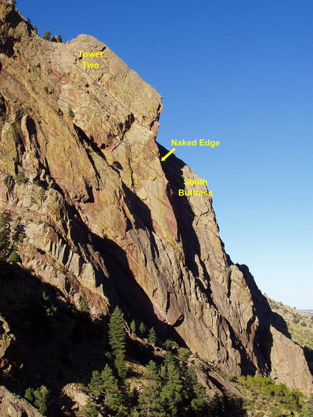 The right side of Redgarden Wall. The South Buttress has classic climbs like Anthill Direct.<br> <br> Tower Two is home to the Naked Edge, T2, and many other classic routes.