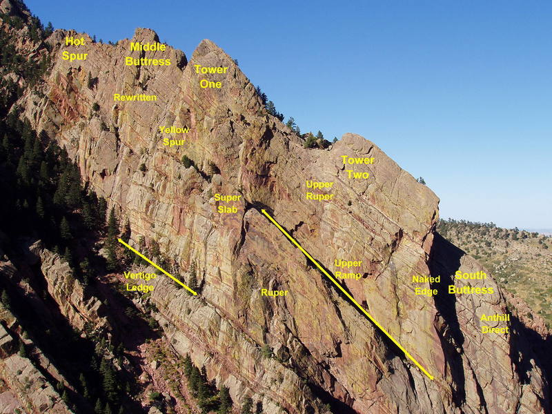 Redgarden Wall, showing the major features and the general location of several classic climbs.<br> <br>